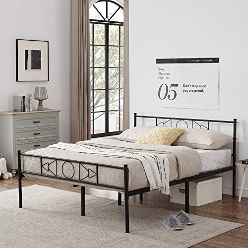 GrandCA 3ft / 4ft 6 Bed Frame, Metal Bed Frame with sound Pattern, with Large Storage and for or Adults, Black (196 x 145 cm)