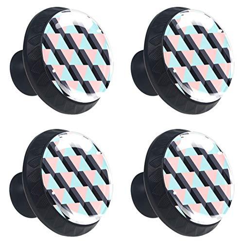 KAMEARI 4 pomos para cajón de escalera con forma de círculo de cristal de cristal, con tornillos, para casa, cocina, oficina