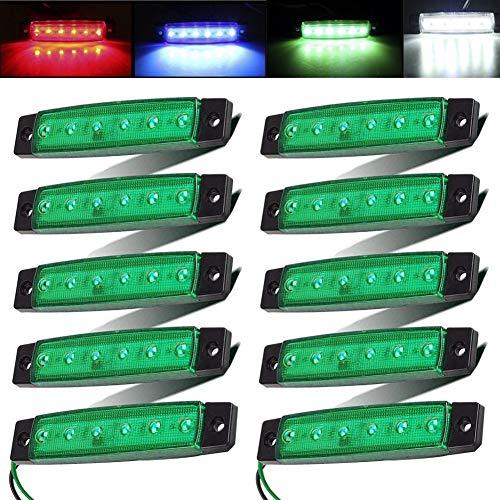 Electrely 10 Stück LED-Indikator Seitenmarkierungsleuchten vorne hintere Seite Lampe Position12V für Anhänger,LKW,Wohnwage,Wohnmobile,Van,LKW,Bus, Boot,Traktor (Grün)