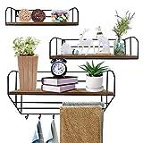 Giftgarden Floating Shelves for Wall Set of 3, Wooden Rustic Wall Shelves Including 6 Coat Hooks Hanging Bar, Decorative Storage Shelfs for Bathroom Kitchen Bedroom Living Room Entryway Laundry Trophy