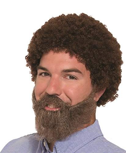 Forum Novelties Men's Wig-80's Man Wig, Beard & Mous, Brown, Standard