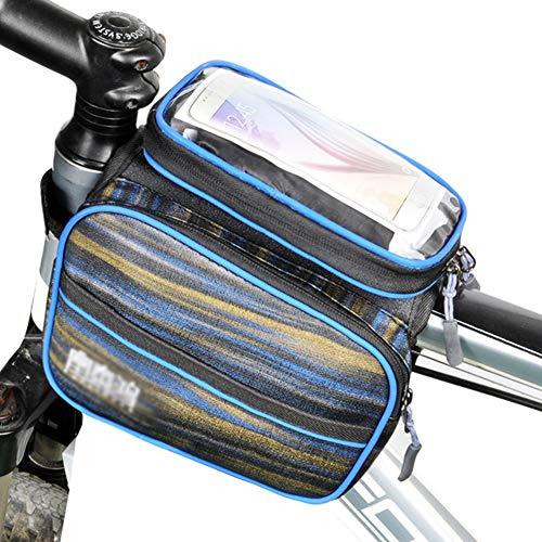 GJG Fahrradrahmentasche, Fahrradtasche, wasserdichte Fahrradtasche Radfahren Mit Touchscreen Oberrohr Lenker Taschen, Für Plus Bis Zu 7 Zoll,4