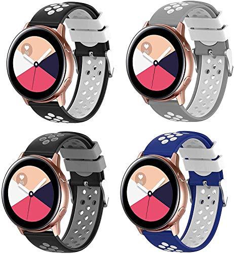 Abasic Correa de Reloj Recambios Correa Relojes Caucho Compatible con TicWatch Pro/Pro 4G LTE / S2 / E2 - Silicona Correa Reloj con Hebilla (22mm, 4PC)