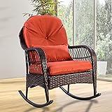 CASART. Wicker Rocking Chair Outdoor Porch Garden Lawn Deck Rattan All Weather Steel Frame Rocker Patio Furniture w/Cushion