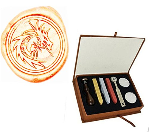 MDLG Vintage Filigraan Vuur Draak Aangepaste Foto Logo Bruiloft Uitnodiging Wax Seal Sealing Stamp Sticks Lepel Gift Box Set Kit
