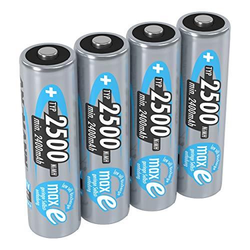 ANSMANN Mignon AA Akku 1,2V Typ 2500 mAh - NiMH AA Akkus mit maxE für Geräte mit hohem Stromverbrauch - 1000 mal wiederaufladbare Batterien AA für Spielzeug Wii & Xbox Controller uvm - 4 Stück