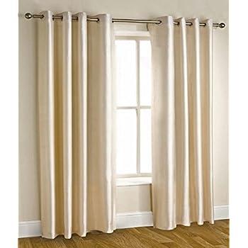 Homefab India'S Set Of 2 Royal Silky Cream Door Curtains(Hf042) 7X4Ft.