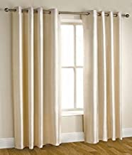 Homefab India'S Set Of 2 Royal Silky Cream Door Curtains(Hf042) 7X4Ft.