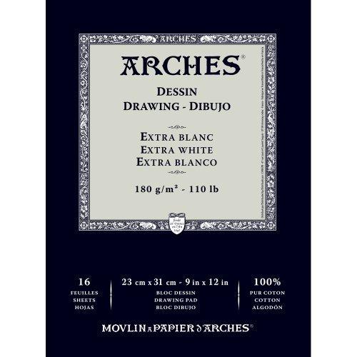 Arches 1795112 Dessin Zeichenpapier Block (23 x 31 cm, 180 g/m² Kopfgeleimt) 16 Blatt extraweiß