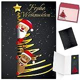 Weihnachtskarten mit Umschlag (15er Set) SANTA & RENTIER - edle Klappkarten ideal privat und geschäftlich - Frohe Weihnachten Karten von BREITENWERK
