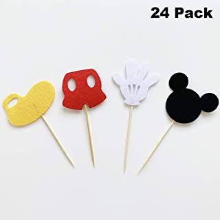 Finduat 24 Pack Cute Mickey Mouse Inspired Cupcake Toppers Kids Birthday Party Supplies Decorations and Cupcake Party