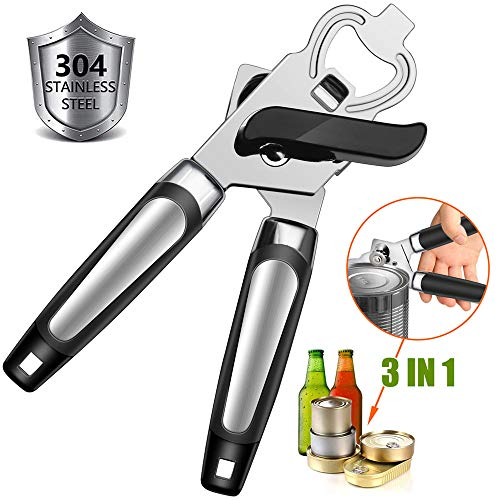 Manual Can Opener, Beer Can Opener, GiniHomer Stainless Steel Can Opener with Ergonomic Designed Comfort Grips, Easy to Use