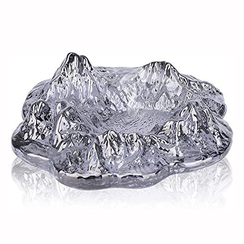 BAIXING Cenicero De Cristal, Cenicero De Cristal con Forma De Iceberg, Ceniceros De Cigarrillos Personalizados, Decoración De Mesa Adecuada para El Hogar, La Oficina, El Restaurante