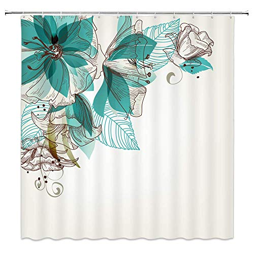 WZFashion Turquoise Shower Curtain Set, Flowers Buds Leaf at The Top Left Corner Retro Art Festive Season Celebrating Theme, Bathroom Accessories, with Hooks, Teal Brown