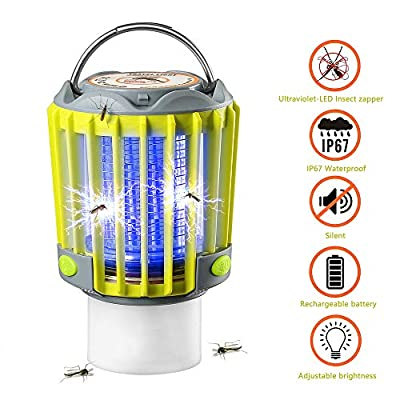 SUPOLOGY Camping Lantern With Bug Zapper,IP67 Waterproof 4 Lighting Modes Dimmable USB Rechargeable For Home,Camping,Hiking,Fishing,Emergency