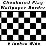 Checkered Flag Cars Wallpaper Border-9 Inch (Black Edge) by CheckeredWallpaperBorder.com