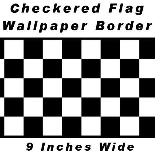 Checkered Flag Cars Wallpaper Border-9 Inch (Black Edge) by CheckeredWallpaperBorder.com