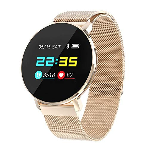 CWGWNXGY Ultra-Dunne Smart Horloge Dames Hart Rate Staal Fitness Armband Bloed Zuurstof Waterdicht Smart Horloge Android Ios, A, Goud