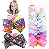 PANTIDE 8Pcs JOJO Bow Hair Clips- 8 Inch Large Sparkly Glitter Sequin Hair Bows and 5 Inch Rainbow Unicorn Grosgrain Ribbon Hair Bows, Alligator Hair Clips Hair Barrettes Accessories with Gift Bag