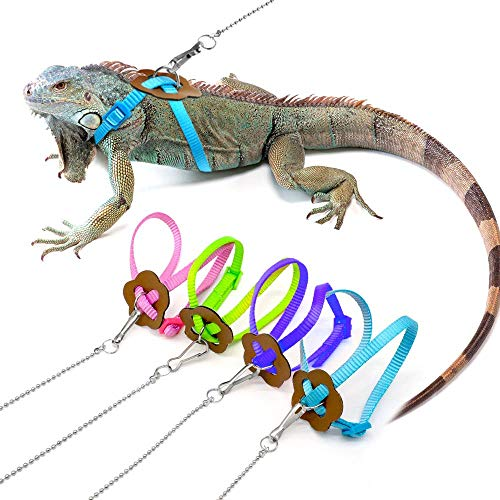 ZYZ Verstellbare Eidechse Harness Leine Multi Color Light Soft Mode für kleine Reptilien Haustiere Bartagame Geckos und Leguane Nylon Leine