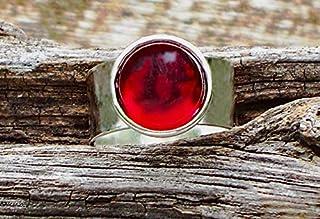 Recycled Vintage 1940's Red Beer Bottle Glass Gem Adjustable Ring