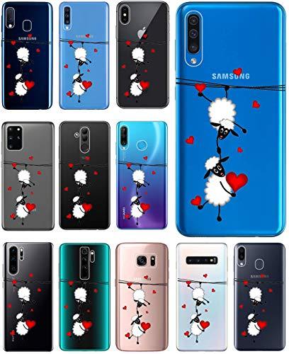 KUMO Hülle für Samsung Galaxy S10 Handyhülle Design 2047 Schafe & Herzen aus flexiblem Silikon SchutzHülle Softcase HandyCover Hülle für Samsung Galaxy S10