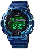 Men's Watches Multi Function Military S-Shock Sports Watch LED Digital Waterproof Alarm Watches (Shiny Blue)