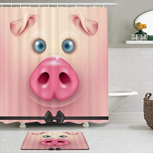 AYISTELU Duschvorhang Sets mit rutschfesten Teppichen,Lustiges Tier niedliches Schwein mit Bowknot Chubby Pet, Badematte + Duschvorhang mit 12 Haken