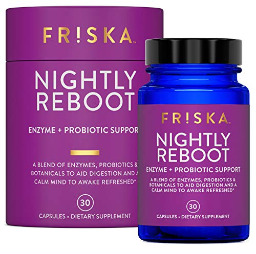 FRISKA Nightly Reboot | Digestive Enzymes and Probiotics Supplement | Promotes Better Digestion | Natural Sleep and Rest Aid | 30 Capsules