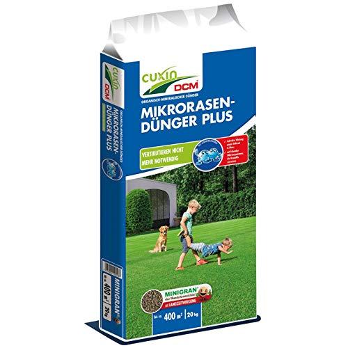 Cuxin DCM Mikro-Rasendünger Plus, Vertikutieren Nicht mehr notwendig, NPK-Dünger 10-3-18, 20 kg für bis zu 400 m²