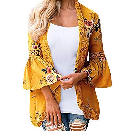 Overdose Las Nuevas SeñOras De Las SeñOras Floral Chaqueta Abierta Frente Kimono Casual Cardigan Primavera OtoñO Mejor Venta Abrigo (Medium, a-Amarillo)