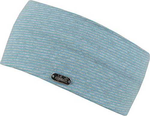 FEINZWIRN sportliches Kopfband Haarband aus Baumwolljersey in vielen Farben, doppellagig (Blue-Grey)
