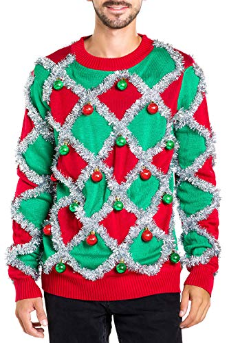 Men's Ornament and Garland Ugly Christmas Sweater - Green and Red Funny Tacky Tinsel Christmas Sweater: X-Large