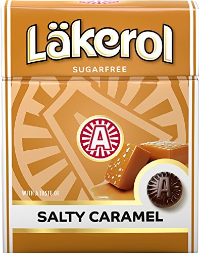 Läkerol Salty Caramel - Lakerol Salziges Karamell - Original Schwedisch Salmiak Salz Lakritze Süßholzwurzel Zuckerfreier Stevia Pastillen Box 25g x 4 stck