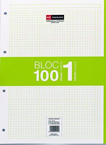 Miquelrius - Recambio hojas A4 100 hojas, cuadrícula 5 mm, 4 taladros, color verde