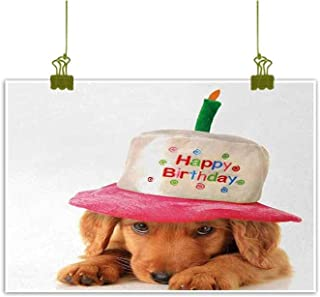 Mannwarehouse Kids Birthday Chinese Classical Oil Painting Cute Puppy Wearing a Party Cone Shaped Hat with Candlestick Party Greetings for Living Room Bedroom Hallway Office 20