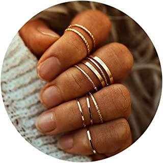 FINETOO 10 Pcs Simple Finger Rings Set Gold Midi Knuckle Stackable Ring Set for Women¡­