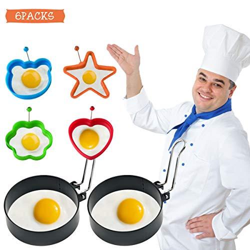 Meowoo Anillo de Huevo para Freír Huevos,6 Piezas Moldes para Hacer Huevos Escalfados, 4 Piezas de Anillos de Silicona Coloridos Antiadherentes con Mango + 2 Moldes Redondos de Acero Inoxidable Negro para Panqueques, Reutilizables Utensilios de Cocina para Freír o Dar Forma a Huevos/Sándwiches/Desayuno
