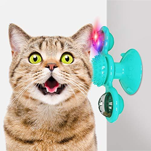 AUCHIKU Windmühle Katzenspielzeug, Plattenspieler Katzenspielzeug mit Katzenminze und Glühender Ball interaktives katzenspielzeug Kratzen Tickle Cats Haarbürste Katzenbiss Puzzle katzenspielzeug-Grün
