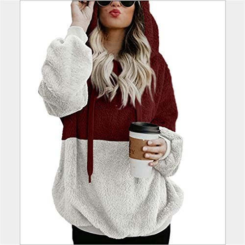 JIAHAONINE For Mujer Fuzzy Sherpa jerséis con Capucha Zip Fleece con Capucha Outwear (Color : #Wine Red, Size : 2-Xlarge)