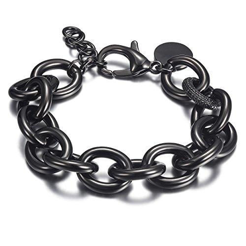 WISTIC Damen Armband mit Funkeln Kristall Armreif Verstellbar Geburtstag Geschenk Schwarz