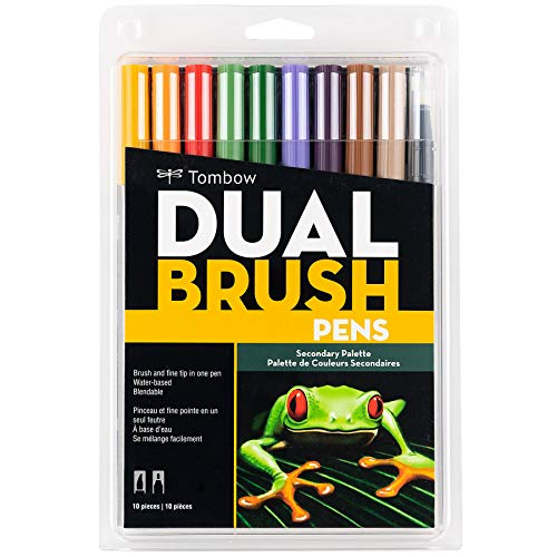 Tombow 56168 Dual Brush Pen Art Markers, Secondary, 10-Pack. Blendable, Brush and Fine Tip Markers