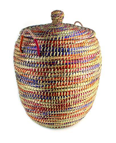 Wäschekorb Mediterran mit Deckel 50x60cm - Natur - Handarbeit - Fair Trade (Mehrfarbig)