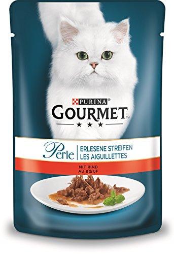 PURINA GOURMET Perle Erlesene Streifen Katzenfutter nass, mit Rind, 24er Pack (24 x 85g)