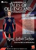 Smiffys Costume roi Arthur Deluxe, Noir, avec haut, cape, gants, couvre-bottes et couron - Multicolore - M