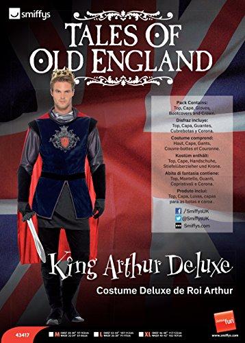 Smiffy's 43417L - King Arthur Deluxe Kostüm mit Top Cape Handschuhe Beinwärmer und Crown, Gr. L, Mehrfarbig