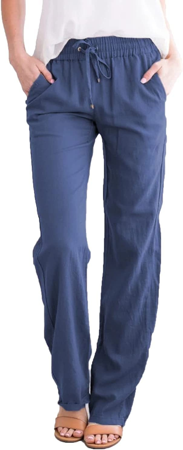 Women's Casual Straight-Leg Pants Ankle Summer Fashion Beach with Pockets Trousers Drawstring Elastic Sportpants (Small,Blue)