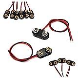 FUJIE 20 Pcs Connecteur Pile à Clips 9V Connecteur de Batterie I et T Type DC Power Plug 15cm Câble, Boitier en Plastique Noir