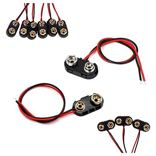 FUJIE 20 Pezzi Connettori per Batterie 9V I e T Tipo Connettore Clip per Batteria con Cavi, Alloggiamento in Plastica