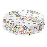 ANRO - Mantel de hule lavable, para mesa, 95% PVC, 5% poliéster., Mariposas multicolor., Rund 140cm...